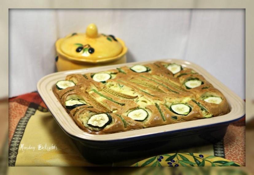 Греческий пирог с кабачками и сыром фета