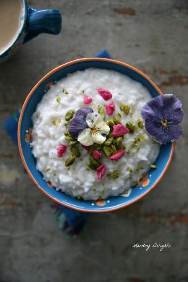 """Рисовый пудинг с кардамоном, фисташками и розовой водой  из книги """"Jerusalem"""""""