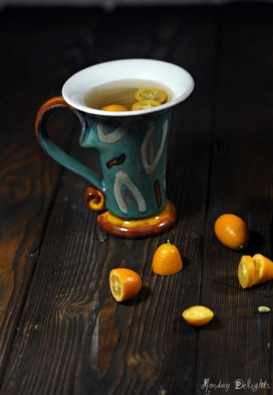 Согревающий напиток из имбиря и кумквата